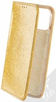 1Mcz Shining Book třpytivé flipové pouzdro pro Apple iPhone 12 Pro Max zlatá (gold)