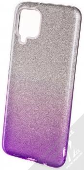 1Mcz Shining Duo TPU třpytivý ochranný kryt pro Samsung Galaxy A12 stříbrná fialová (silver violet)