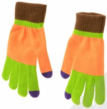 Aligator Touch Gloves Jolly pestrobarevné pletené rukavice pro kapacitní dotykový displej oranžová (orange) zepředu (hřbet ruky)