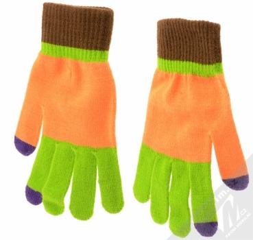 Aligator Touch Gloves Jolly pestrobarevné pletené rukavice pro kapacitní dotykový displej oranžová (orange) zezadu (dlaň ruky)