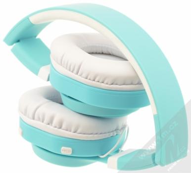 ART AP-B04-C Bluetooth Stereo headset bílá tyrkysová (white cyan) složené