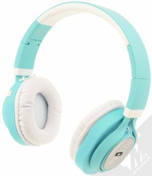 ART AP-B04-C Bluetooth Stereo headset bílá tyrkysová (white cyan) zezadu