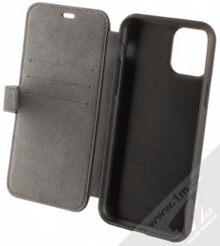 BMW Signature Real Leather flipové pouzdro z pravé kůže pro Apple iPhone 11 Pro (BMFLBKSN58LLSB) černá (black) otevřené