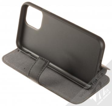 BMW Signature Real Leather flipové pouzdro z pravé kůže pro Apple iPhone 11 Pro (BMFLBKSN58LLSB) černá (black) stojánek