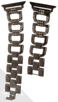 Dahase Bling D-Diamond kovový pásek s krystaly na zápěstí pro Apple Watch 38mm, Watch 40mm černá (black) rozepnuté