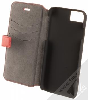 Ferrari Lusso Folio Case flipové pouzdro pro Apple iPhone 7, iPhone 8 (FEHOFLBKP7RE) červená stříbrná (red silver) otevřené