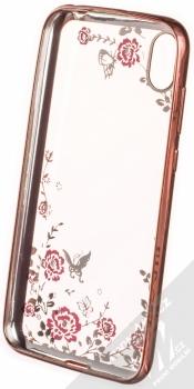 Forcell Diamond Flower TPU ochranný kryt pro Huawei Y5 (2019), Honor 8S růžově zlatá (rose gold) zepředu