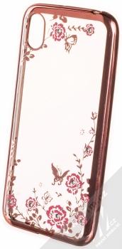 Forcell Diamond Flower TPU ochranný kryt pro Huawei Y5 (2019), Honor 8S růžově zlatá (rose gold)