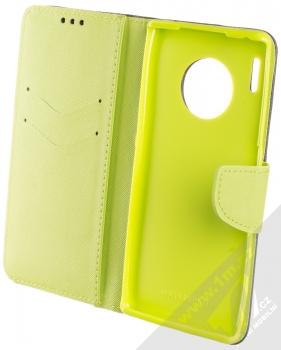 Forcell Fancy Book flipové pouzdro pro Huawei Mate 30 Pro modrá limetkově zelená (blue lime) otevřené