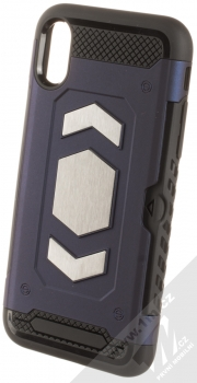 Forcell Magnet odolný ochranný kryt s kapsičkou a kovovým plíškem pro Apple iPhone X, iPhone XS tmavě modrá (dark blue)