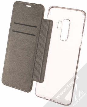 Guess 4G Flower Desire Booktype Case flipové pouzdro pro Samsung Galaxy S9 Plus (GUFLBKS9L4GROB) hnědá (brown) otevřené