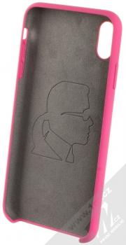 Karl Lagerfeld Silicone Logo ochranný kryt pro Apple iPhone XS Max (KLHCI65SLROG) sytě růžová (hot pink) zepředu