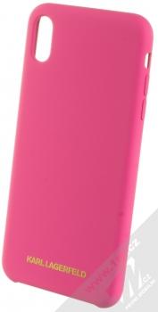 Karl Lagerfeld Silicone Logo ochranný kryt pro Apple iPhone XS Max (KLHCI65SLROG) sytě růžová (hot pink)