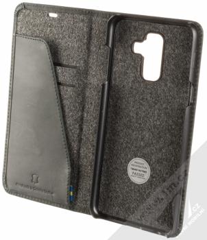 Krusell Sunne FolioWallet flipové pouzdro pro Samsung Galaxy A6 Plus (2018) černá (vintage black) otevřené