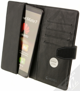Krusell Vargon Universal WalletCase 5XL univerzální flipové pouzdro typu peněženka pro mobilní telefon, mobil, smartphone černá (black) otevřené s telefonem