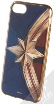 Marvel Kapitánka Marvel 001 TPU pokovený ochranný silikonový kryt s motivem pro Apple iPhone 6, iPhone 6S, iPhone 7, iPhone 8 tmavě modrá zlatá (dark blue gold)
