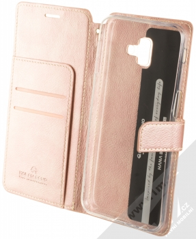 Molan Cano Issue Diary flipové pouzdro pro Samsung Galaxy J6 Plus (2018) růžově zlatá (rose gold) otevřené