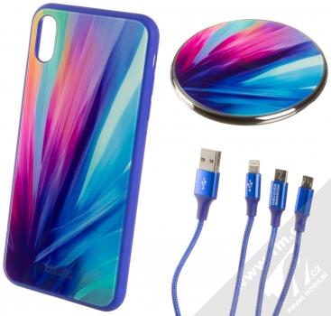 Nillkin Fancy Gift Set sada ochranného krytu, USB kabelu a podložky pro bezdrátové nabíjení pro Apple iPhone XS Max modrá (blue)