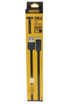 Remax Fast Flat plochý USB kabel s USB Type-C konektorem pro mobilní telefon, mobil, smartphone, tablet černá (black)