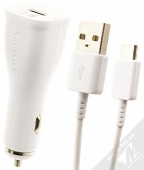 Samsung EP-LN915UW originální nabíječka do auta Adaptive Fast Charging s USB výstupem 9V/1,67A + Samsung EP-DN930CWE originální USB kabel s USB Type-C bílá (white)