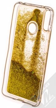 Sligo Liquid Glitter Full ochranný kryt s přesýpacím efektem třpytek pro Huawei Y7 (2019) zlatá (gold) zepředu