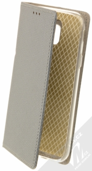 Sligo Smart Magnet flipové pouzdro pro Samsung Galaxy J3 (2017) kovově šedá (steel)