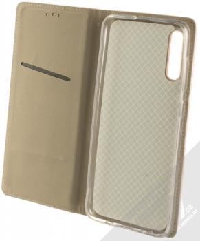 Sligo Smart Magnetic flipové pouzdro pro Samsung Galaxy A70 růžově zlatá (rose gold) otevřené