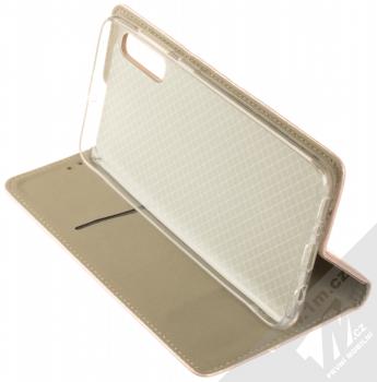 Sligo Smart Magnetic flipové pouzdro pro Samsung Galaxy A70 růžově zlatá (rose gold) stojánek