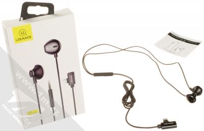 USAMS EP-32 Metal Earphone stereo sluchátka s rozdvojkou Apple Lightning konektoru černá (black) balení