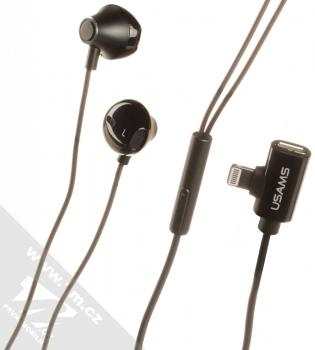 USAMS EP-32 Metal Earphone stereo sluchátka s rozdvojkou Apple Lightning konektoru černá (black)