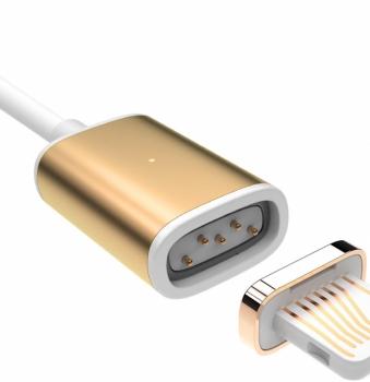 USAMS Metal Magnetic USB kabel s magnetickým 5 pinovým konektorem a samostatnou magnetickou záslepkou s Apple Lightning konektorem zlatá (gold) rozpojení