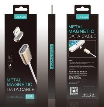 USAMS Metal Magnetic USB kabel s magnetickým 5 pinovým konektorem a samostatnou magnetickou záslepkou s Apple Lightning konektorem zlatá (gold) krabička