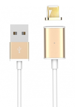 USAMS Metal Magnetic USB kabel s magnetickým 5 pinovým konektorem a samostatnou magnetickou záslepkou s Apple Lightning konektorem zlatá (gold)