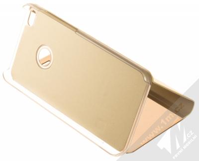 1Mcz Clear View flipové pouzdro pro Huawei P9 Lite (2017) zlatá (gold) stojánek