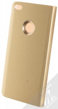 1Mcz Clear View flipové pouzdro pro Huawei P9 Lite (2017) zlatá (gold) zezadu