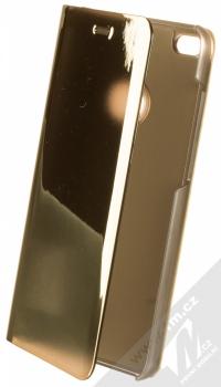 1Mcz Clear View flipové pouzdro pro Huawei P9 Lite (2017) zlatá (gold)