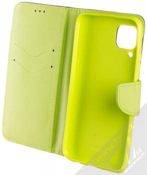 1Mcz Fancy Book flipové pouzdro pro Huawei P40 Lite modrá limetkově zelená (blue lime) otevřené