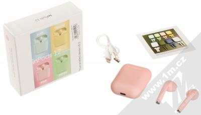 1Mcz i12 inPods Macaron TWS Bluetooth stereo sluchátka růžová (pink) balení