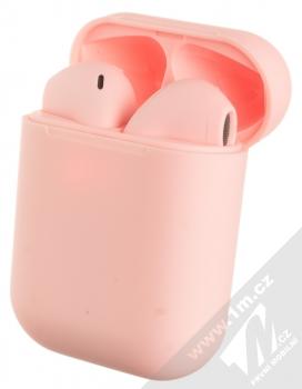 1Mcz i12 inPods Macaron TWS Bluetooth stereo sluchátka růžová (pink) nabíjecí pouzdro se sluchátky