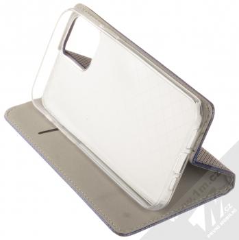 1Mcz Magnet Book flipové pouzdro pro Apple iPhone 12 Pro tmavě modrá (dark blue) stojánek