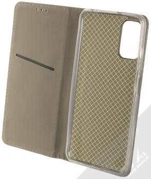 1Mcz Magnetic Book flipové pouzdro pro Xiaomi Redmi Note 10 5G, Poco M3 Pro tmavě zelená (dark green) otevřené
