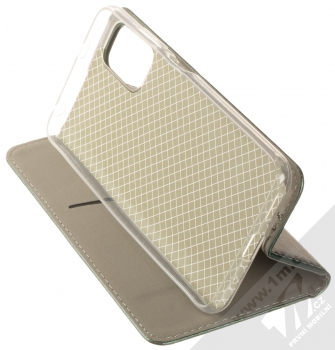 1Mcz Magnetic Book flipové pouzdro pro Xiaomi Redmi Note 10 5G, Poco M3 Pro tmavě zelená (dark green) stojánek