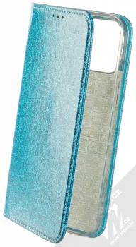 1Mcz Shining Book třpytivé flipové pouzdro pro Apple iPhone 12 Pro Max modrá (blue)