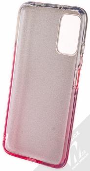 1Mcz Shining Duo TPU třpytivý ochranný kryt pro Xiaomi Redmi 9T stříbrná růžová (silver pink) zepředu