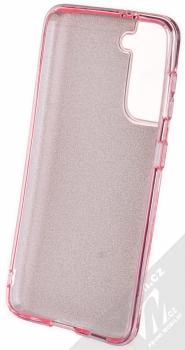 1Mcz Shining TPU třpytivý ochranný kryt pro Samsung Galaxy S21 růžová (pink) zepředu