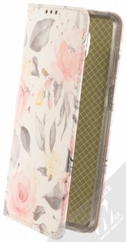 1Mcz Trendy Book Keřík růží 1 flipové pouzdro pro Xiaomi Redmi Note 9 Pro, Redmi Note 9 Pro Max, Redmi Note 9S bílá (white)