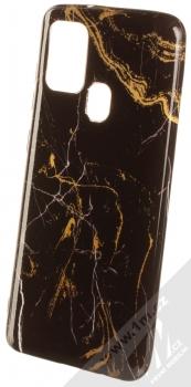1Mcz Trendy Mramor TPU ochranný kryt pro Samsung Galaxy A21s černá zlatá (black gold)
