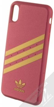 Adidas 3-Stripes Suede Snap Case ochranný kryt pro Apple iPhone XS Max (CL2351) tmavě červená zlatá (collegiate burgundy gold)