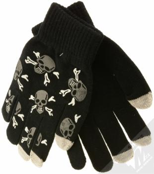 Aligator Touch Gloves Skull pletené rukavice s motivem pro kapacitní dotykový displej černá (black)