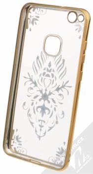 Beeyo Floral pokovený ochranný kryt pro Huawei P10 Lite zlatá průhledná (gold transparent) zepředu